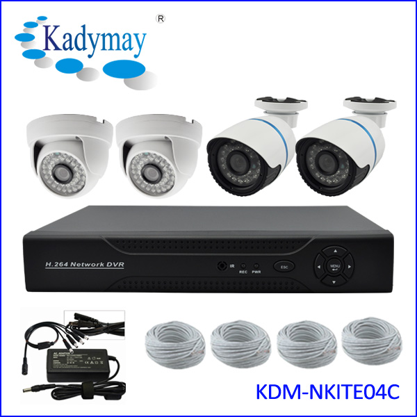 Economic 4chs 1.0 Megapixels Security camera System NVR KITS