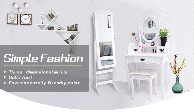 Classic high quality bedroom furniture with drawers small white dressing table with stool