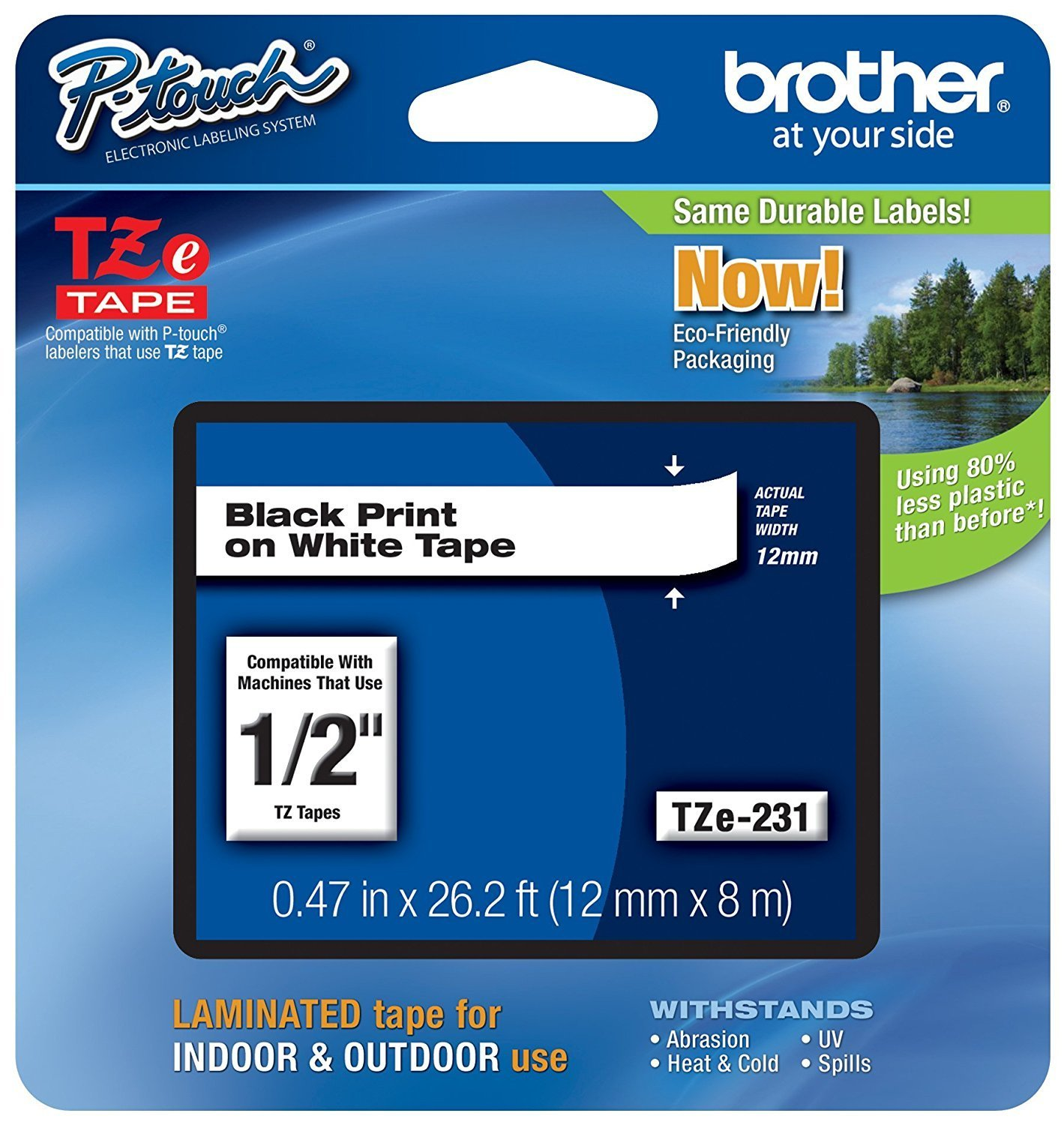 "Brother P-touch Tze231, 1/2"" (0.47"") Black on White Standard Laminated Tape nBbxOWW, 3Pack (26.2 ft)"