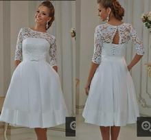 Vestidos de Novia Half Sleeve Lace Satin Short Wedding Dress 2016 Bridal Gowns Short Bridal Dresses Robe de Mariage Custom Made