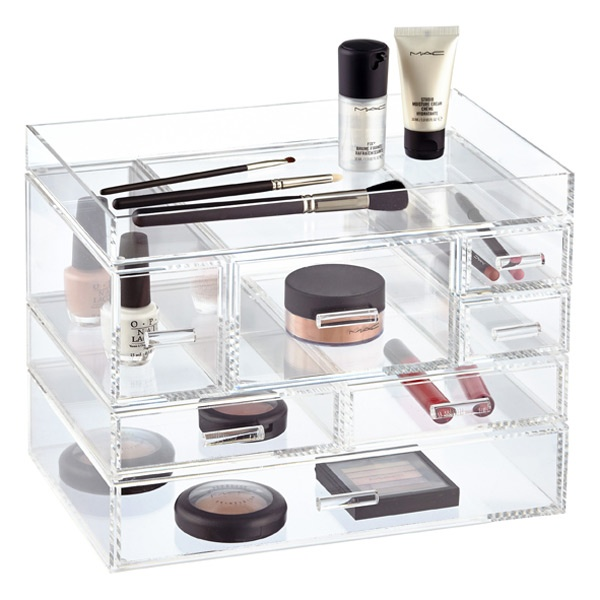 top quality comestic display box acrylic makeup drawer box for wholesale