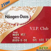 vip club card with gold emboss of name valid time and numbers for customers in 2013 manufacturer made