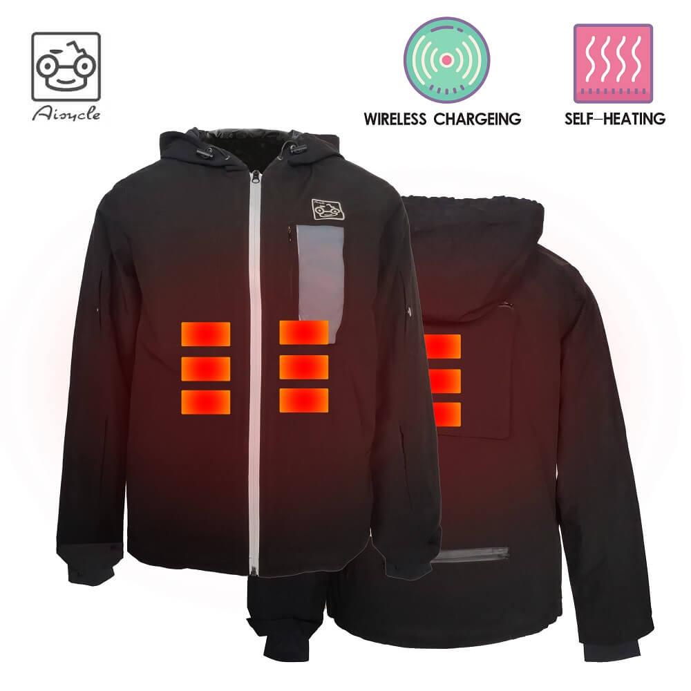 Akülü ısıtmalı ceket, 3 in 1 Bombacı Ceket Ile Kablosuz Şarj Pedi