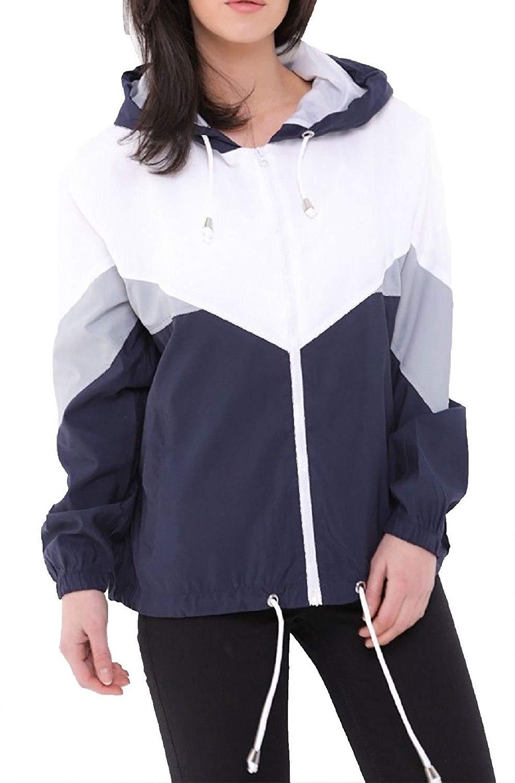 240ae5733e7 Get Quotations · Rimi Hanger Ladies Long Sleeve Color Block Jacket Womens  Fancy Windbreaker Hooded Coat Top S