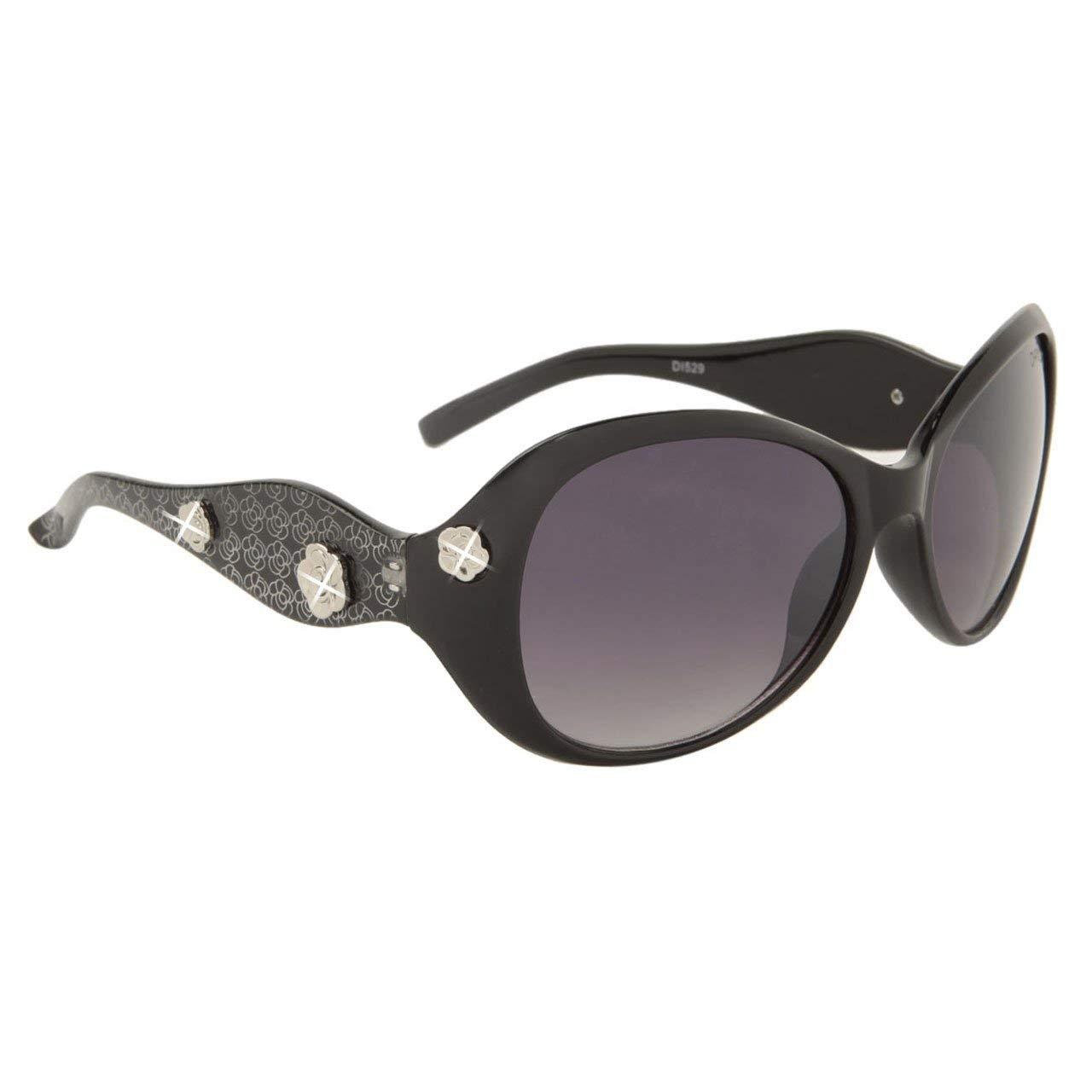 dba911db75cc Get Quotations · FancyG® Women s Fashion Sunglasses Diamond Eye Style  Flower Look UV Protection Eyewear - Black