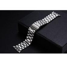 Деловой классический ремешок из нержавеющей стали для Apple Watch Band 38 мм 42 мм ремешок для Iwatch 1 2 3 4 Браслет Бабочка Пряжка(Китай)