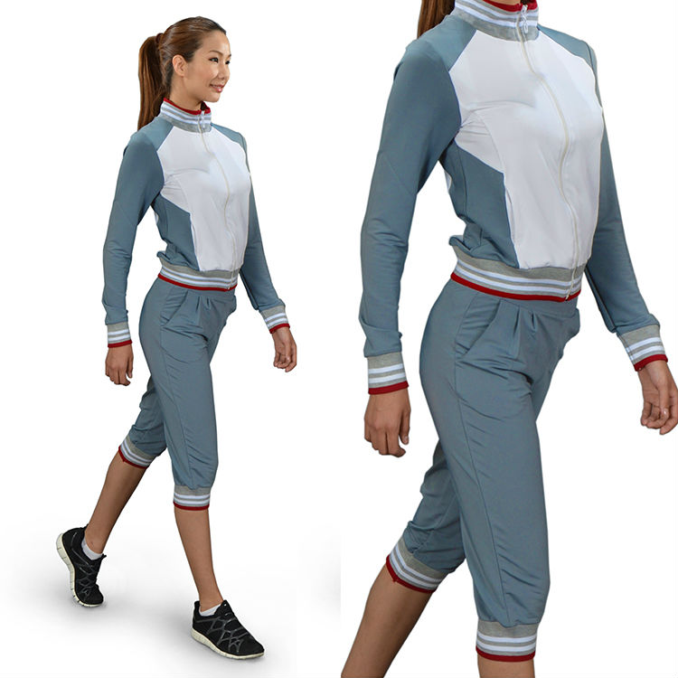 bfb756c49bb8 Womens and ladies sports workout jogging fitness gym set with jacket and  short pants