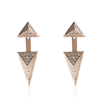 New Fashion Gold Plated Diamond Alloy Small Triangle Earring For Women