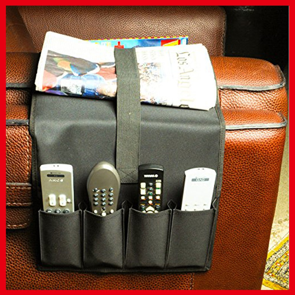 TV Remote Control Organizer Holder, Drapes Over Sofa 4 Pockets Couch Organizer Use for Remote Controls, Game Controller