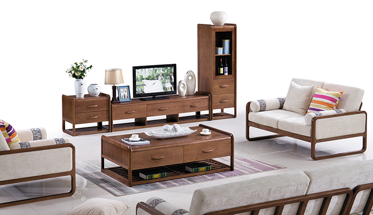 Full apartment furniture set l shaped sofa with corner table