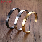 Wholesale Fashion Silver Gold Rose gold Black Stainless Steel Inspirational Mantra Bangle Cuff Bracelets for Men