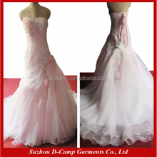 WD038 Affordable strapless blush pink wedding dress 2016