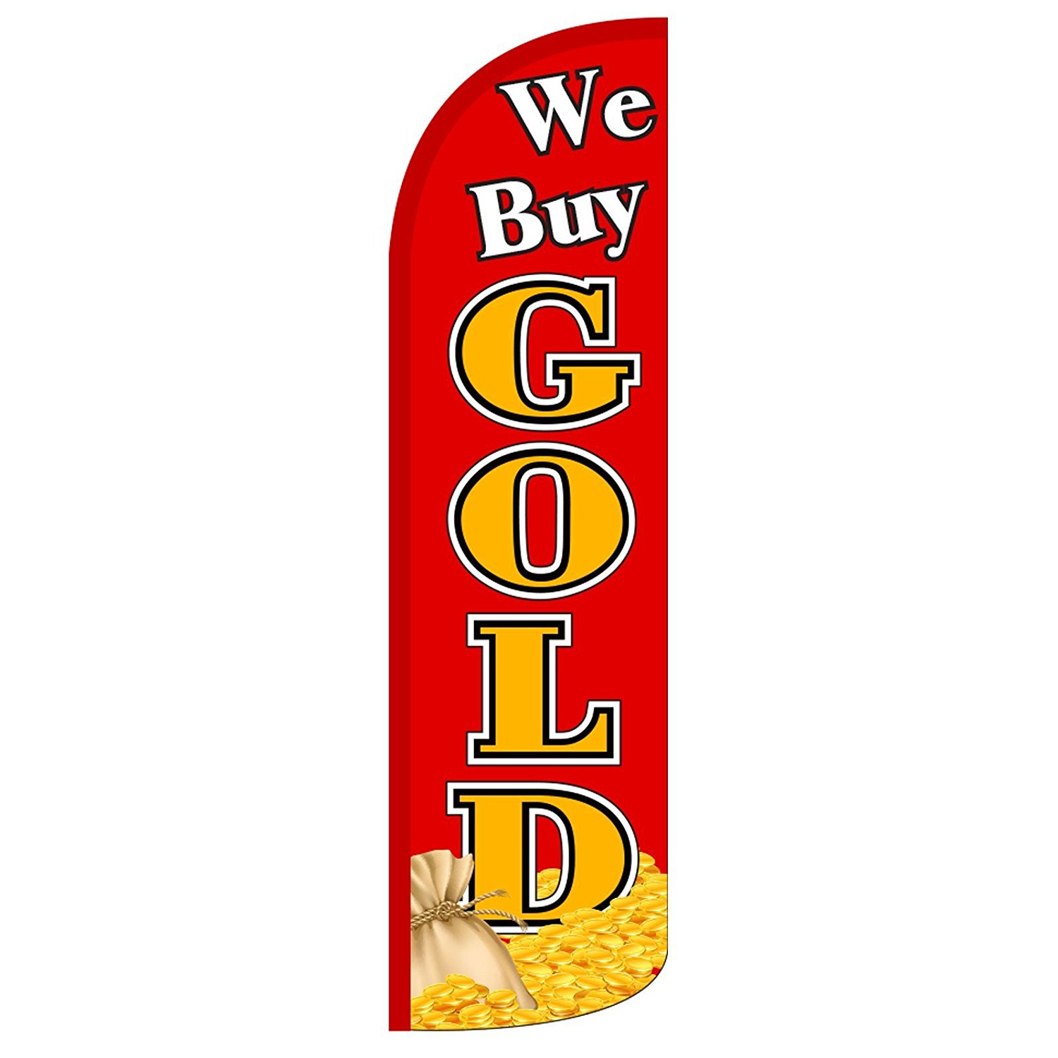 """NEOPlex - """"We Buy Gold"""" 12-foot KING SIZE (WINDLESS) Swooper Feather Flag (Flag Only)"""