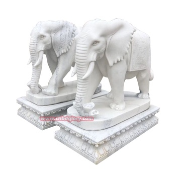 Door decor White marble feng shui elephant statue