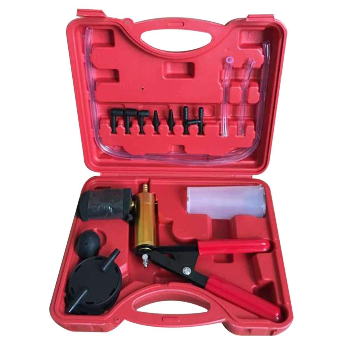 Kongqiabona Hand Held Vacuum Pump Tester Set and Brake Bleeder Kit Car Motorbike Self Vacuum Pump Screw Adapter with Vacuum Gauge