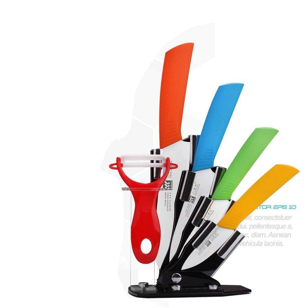 New Arrival Kitchen Ceramic Knife Set: 6Piece Chef: 6-In chief Knife,5-Inch Utility knife,3-In/4-In Fruit Knife, Ceramic Peeler& Knife Block Holder
