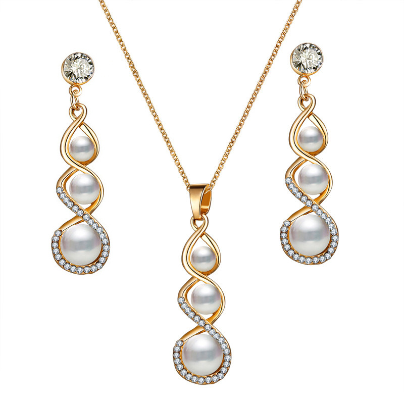 Gold Plating Pearl Wedding Bridal Jewelry Set Elegant Faux Pearl Rhinestone Necklace Earring Party Jewelry Set