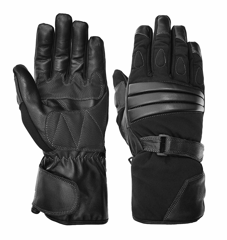 Vance Leathers Men's Premium Padded Gauntlet Motorcycle Gloves - Black - XXL