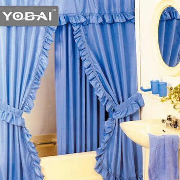 Wholesale Blue Double Swag Shower Curtains With Valance