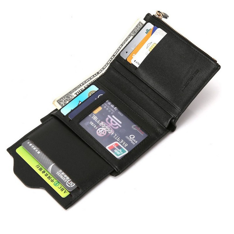 Oempromo short zipper card holder wallet with removable pass case