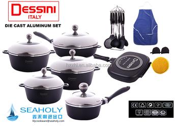 Dessini 23 Pcs Die-casting Non-stick Marble Aluminum Cookware Sets ...
