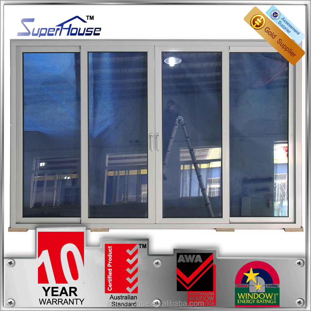 Australia standards as2047 best quality 4 panel aluminum fix and sliding glass door with 10 years warranty