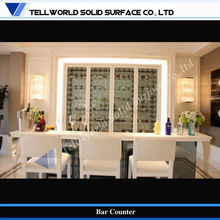 Fancy and Modern L shape pure white bar counter bar chairs wine cabinet