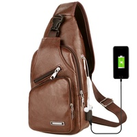 Custom Waterproof PU Leather messenger Sling Bag Men Crossbody Chest bag with USB charging port