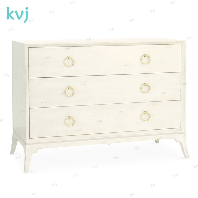 KVJ 7947 Modern Nordic White Solid Wood Lowboy Cabinet With Drawers