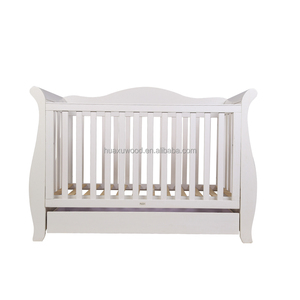 Brand New Deluxe 3 in 1 Sleigh Cot with Drawer white