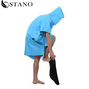 Customized quick dry Microfiber surf hooded poncho robe towel