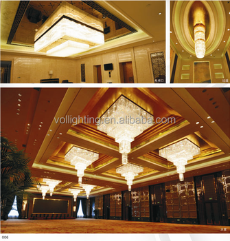 Hotel Lobby Crystal Ceiling Light Pendant Lamp Luxury Chandelier ...