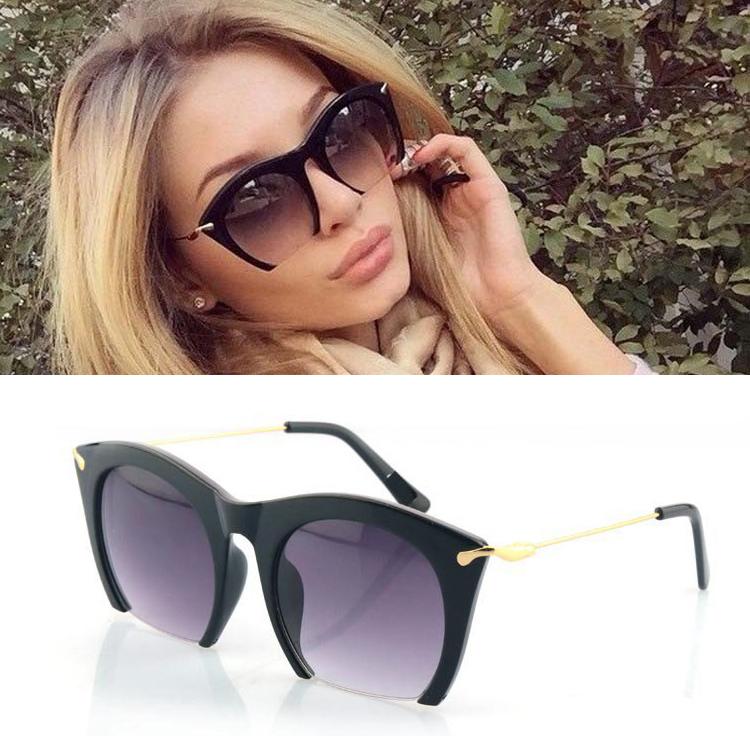 d170f6636 wholesale 2015 new brand half rim sunglasses cat eye sun shades lenses half  frame goggles women