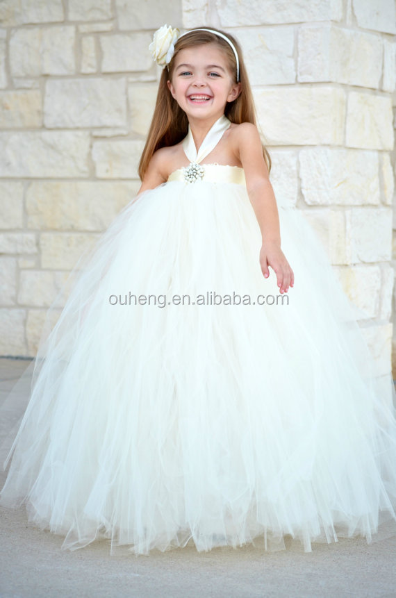 Gorgeous Ivory Little Girl Imitation Pearl Tutu Dress Flower Girl ...