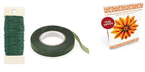 Floral Arrangement Tape Green 1/2 Inch Paddle Wire 22 Gauge w/ Flower Crafting Tools eBook Bundle