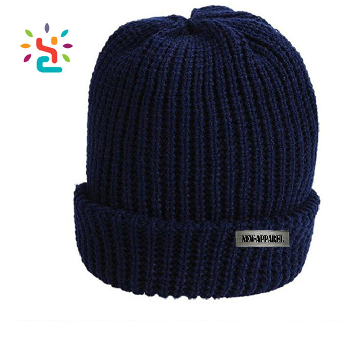 The beanie straight needle knit deep blue hat patterns mens 100% Peruvian  cotton winter knitting 507a5b1529b