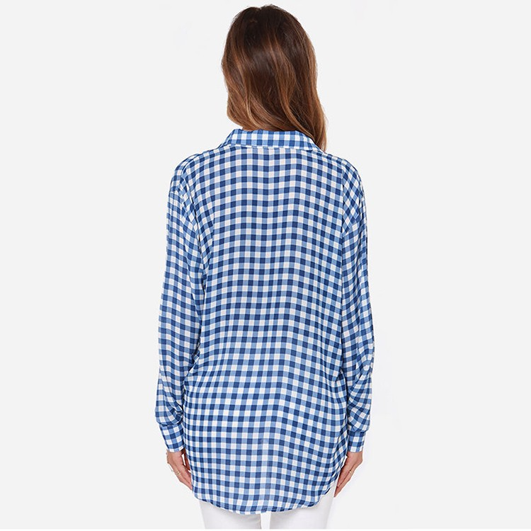 HAODUOYI Fashion Casual Blue Plaid Women blusas Loose Long Shirt Casual Brief Basic Top for Wholesale