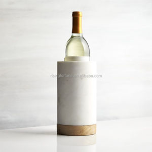 Tall wood marble wine cooler