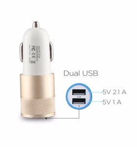 Dual USB Car Charger ABS+Metal Car Charger 5V 2A