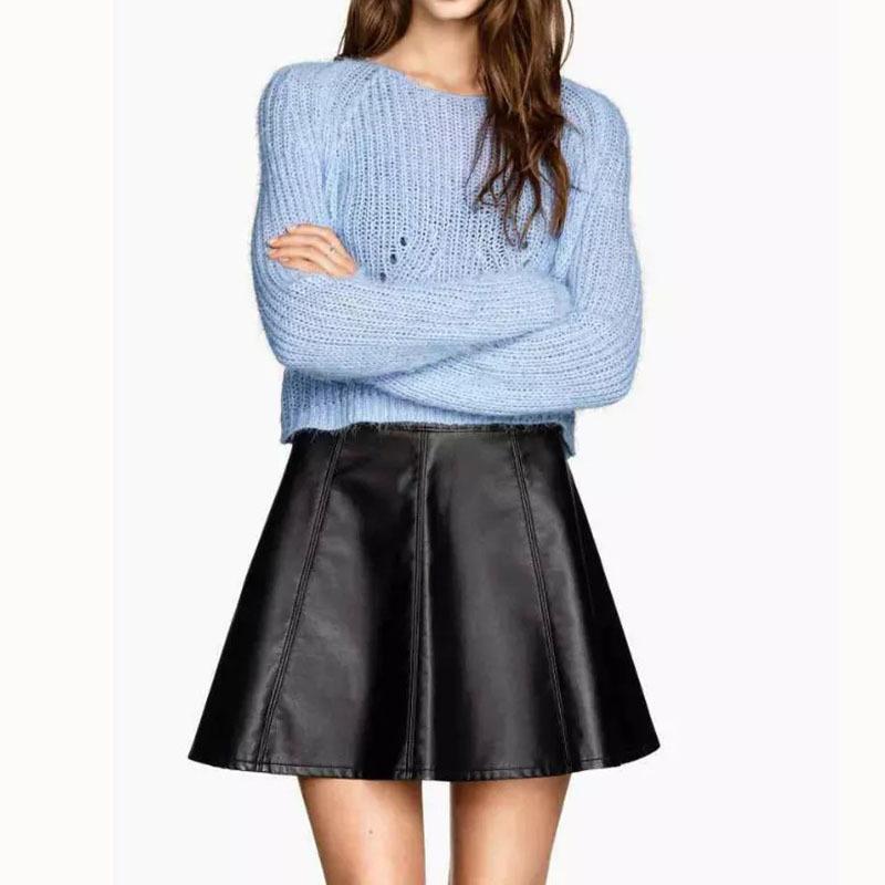75216e6d8fda Get Quotations · Dioufond 2015 New Fashion Faux Leather Mini Women Skirts  Falda A Line Empire Saia Feminina PU