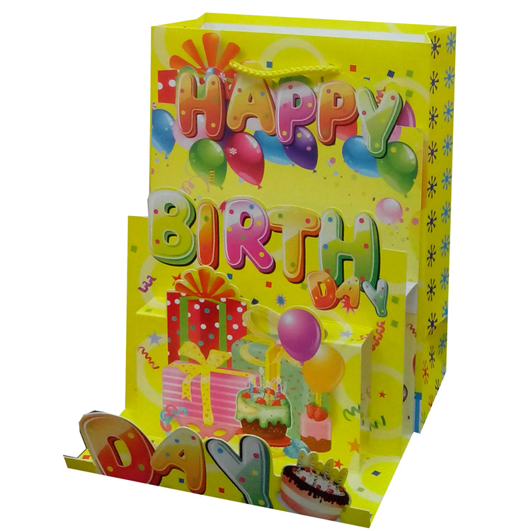 Eco-friendly Recyclable Custom Logo Printed Yellow Paper Gift Bag With Handles, Christmas Wine Bottle Bag