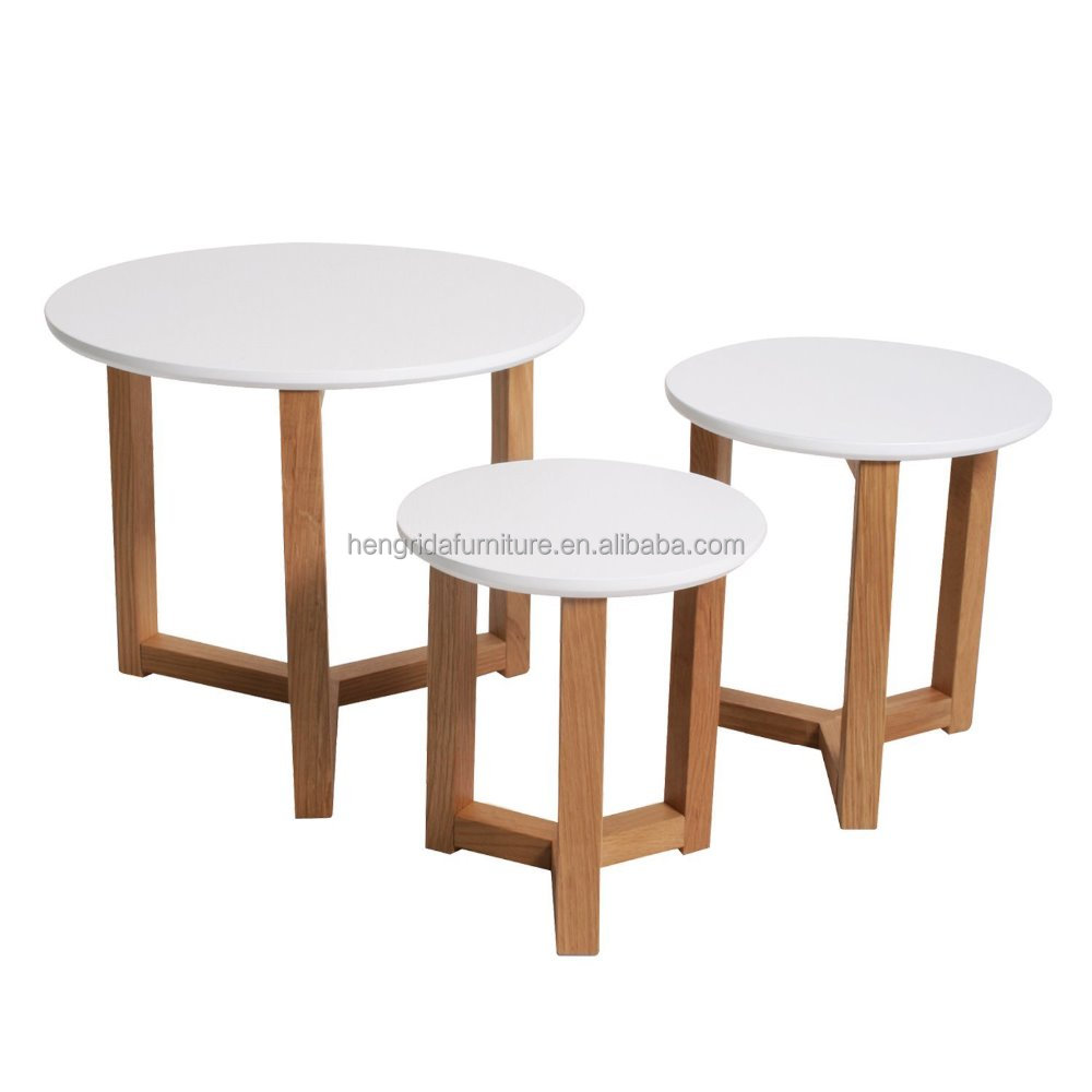 scandinavian white MDF coffee table 3 set with solid oak wood legs