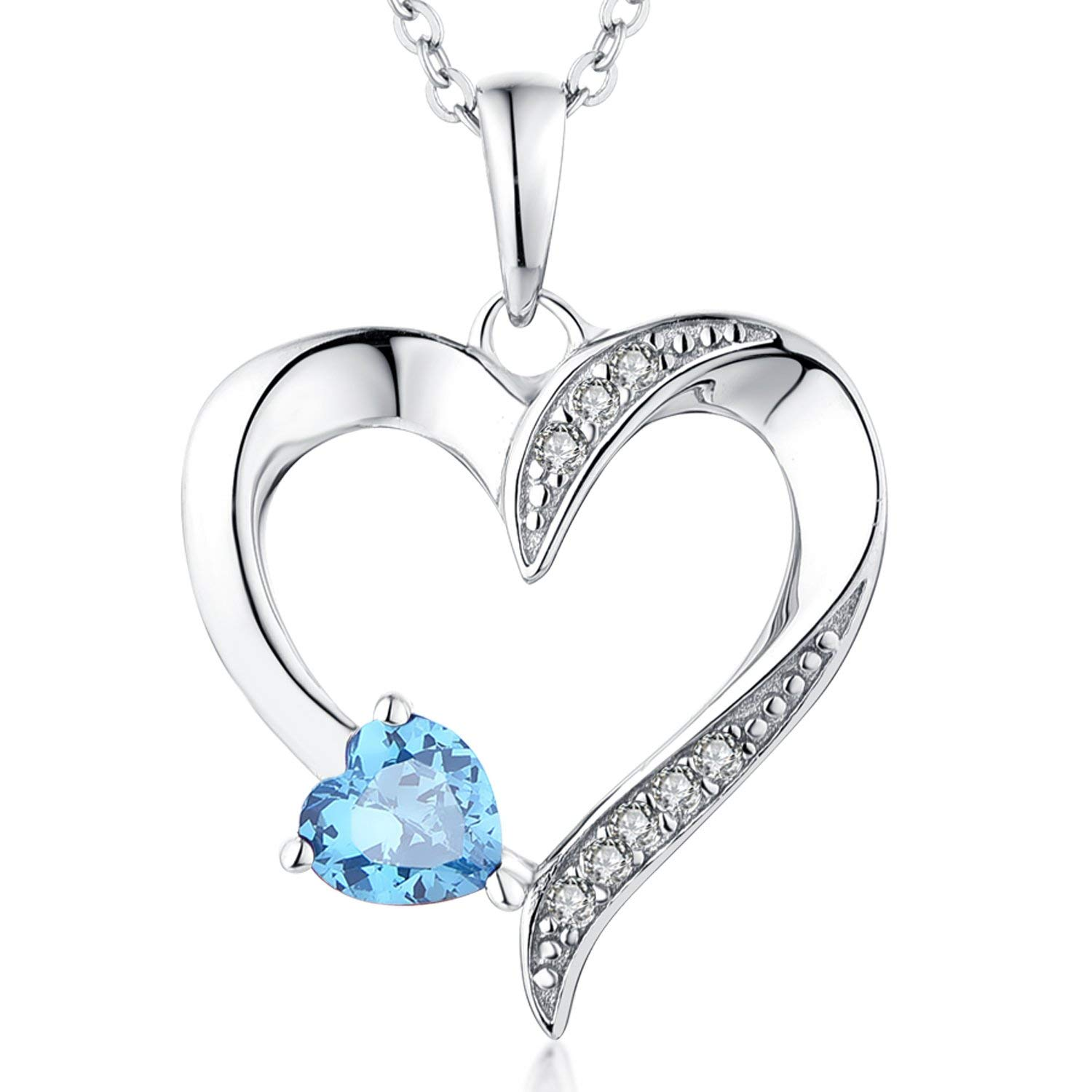 ecf6b4fbe Get Quotations · Heart Necklace-YL Women's Sterling Silver CZ Sapphire/Sky  Blue/Red/Pink