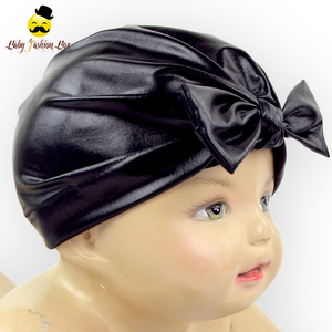 Daily Life Kids Wear Solid Black Soft Patent Leather Bow Tie Newborn Infant Baby Winter Beanie Hat Cap