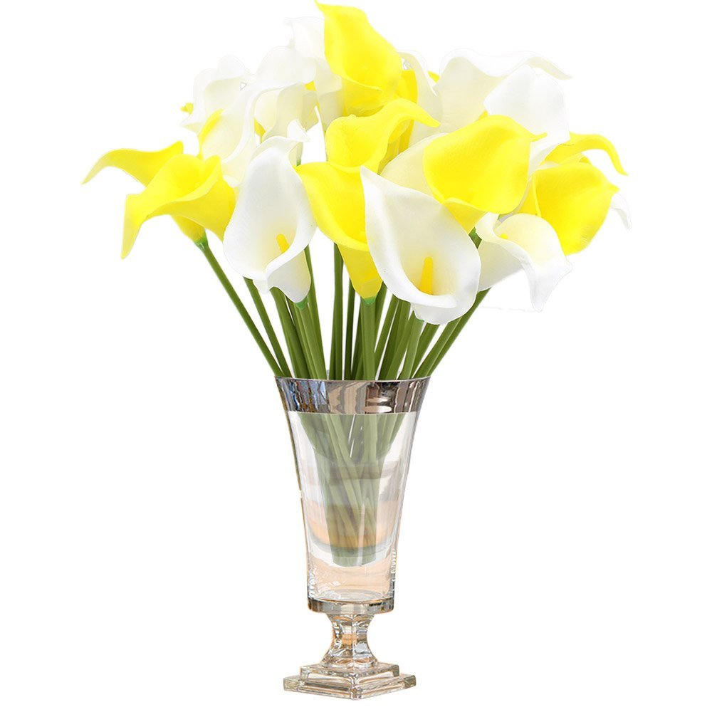 Cheap wedding flowers yellow find wedding flowers yellow deals on get quotations topixdeals pu flowers calla lily bridal wedding bouquet head latex real touch 6 white mightylinksfo