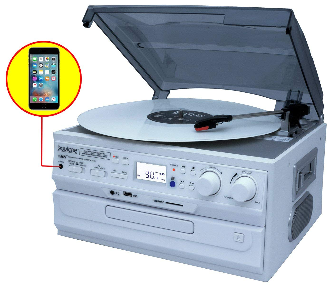 Boytone BT-21DJWT-C, Limited Edition 3 Speed Turntable Ability to convert vinyl record, CD, Cassette, AM/FM Radio into MP3 files format without a computer, USB/SD Slot, Auxiliary, 2 built in speaker.
