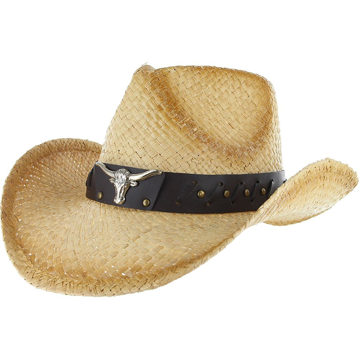 4c124f5cdce5e Get Quotations · COWBOY Shapeable Western Mens Womens STRAW HAT Panama  Cowgirl Raffia Sun Rodeo Concho Farm Field Summer
