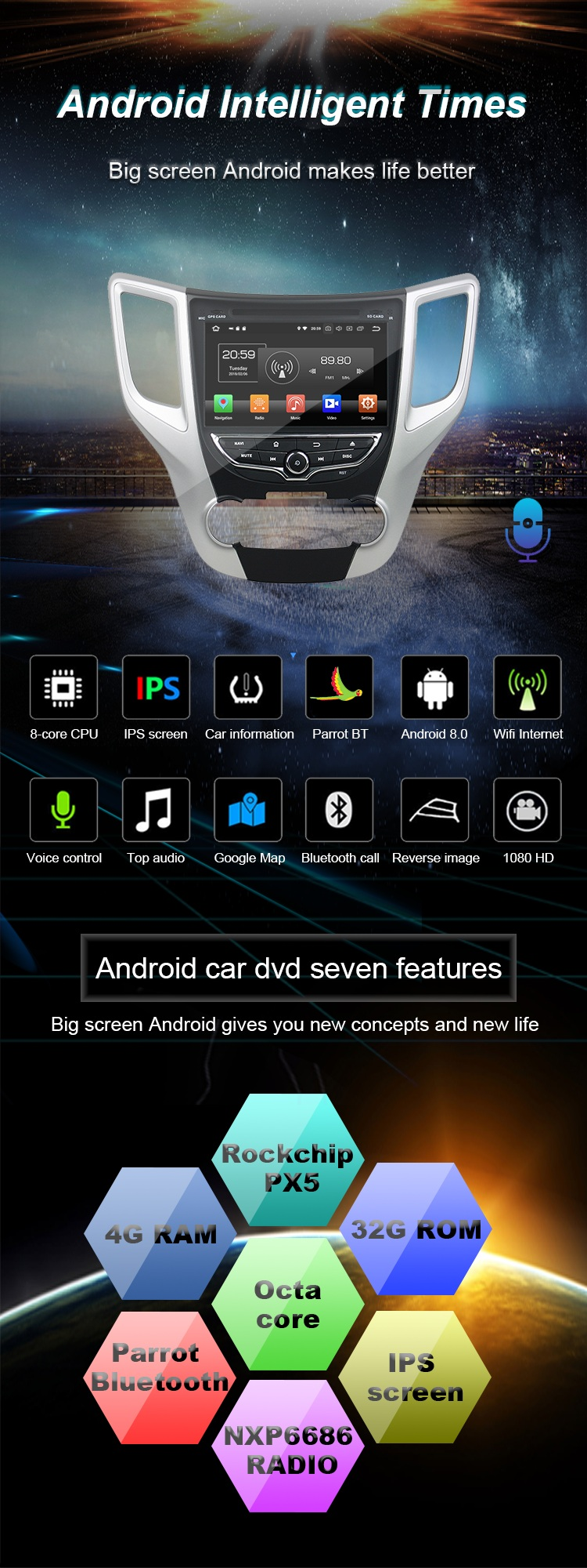 wholesale car stereo apple carplay android 8.0 octa core custom car stereo for CS35 carplay stereo