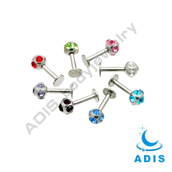 Multi-gems stainless steel labret studs ring lip piercing diamond