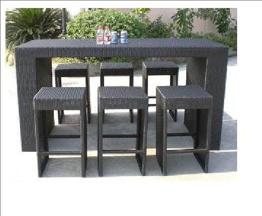 barhocker rattan barstuhl freien bartheke set im garten. Black Bedroom Furniture Sets. Home Design Ideas